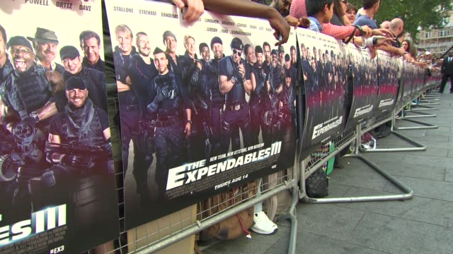 signage at 'the expendables 3' world premiere at odeon leicester square on august 04, 2014 in london, england. - leicester square stock videos & royalty-free footage