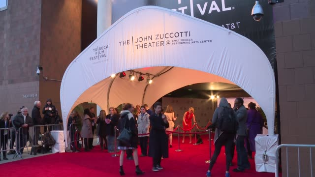 vídeos de stock e filmes b-roll de atmosphere signage at the first monday in may world premiere 2016 tribeca film festival opening night at john zuccotti theater at bmcc tribeca... - festival de cinema tribeca