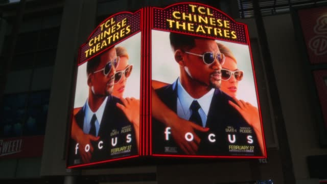 "stockvideo's en b-roll-footage met signage at the ""focus"" los angeles premiere at tcl chinese theatre on february 24, 2015 in hollywood, california. - tcl chinese theatre"