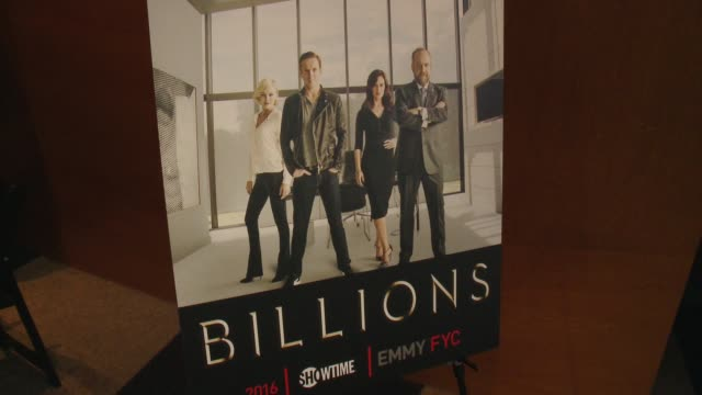 """signage at the for your consideration screening and panel for showtime's """"billions"""" - red carpet at the wga theater on april 26, 2016 in beverly... - showtime video stock e b–roll"""