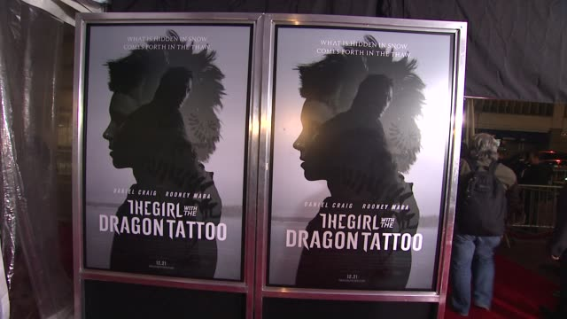 signage at 'the girl with the dragon tattoo' new york premiere new york ny united states - the girl with the dragon tattoo stock videos and b-roll footage