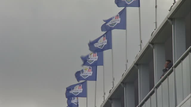 signage at the gleneagles 2014 ryder cup - pga event stock videos and b-roll footage