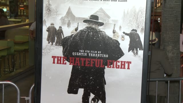 """signage at """"the hateful eight"""" world premiere at arclight cinemas on december 07, 2015 in hollywood, california. - arclight cinemas hollywood stock-videos und b-roll-filmmaterial"""
