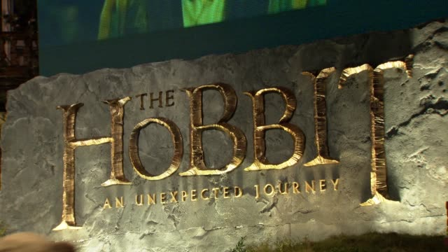 signage at 'the hobbit' uk premiere and royal film performance at odeon leicester square on december 12, 2012 in london, england. - the hobbit stock videos & royalty-free footage