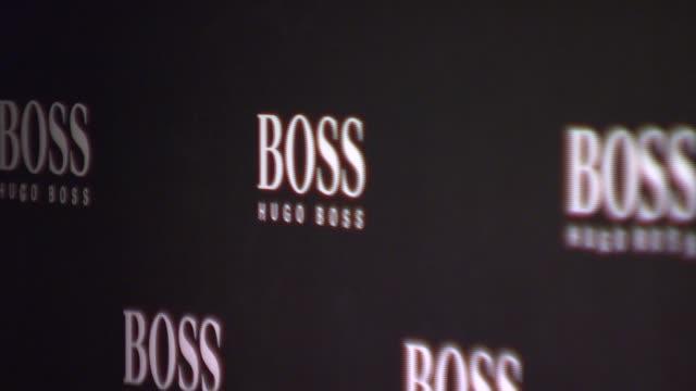 signage at the hugo boss hosts boss black fashion show at cunard building in new york, new york on october 17, 2007. - hugo boss stock-videos und b-roll-filmmaterial
