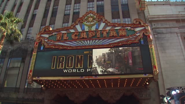 signage at the 'iron man 2' premiere at hollywood ca. - première stock-videos und b-roll-filmmaterial