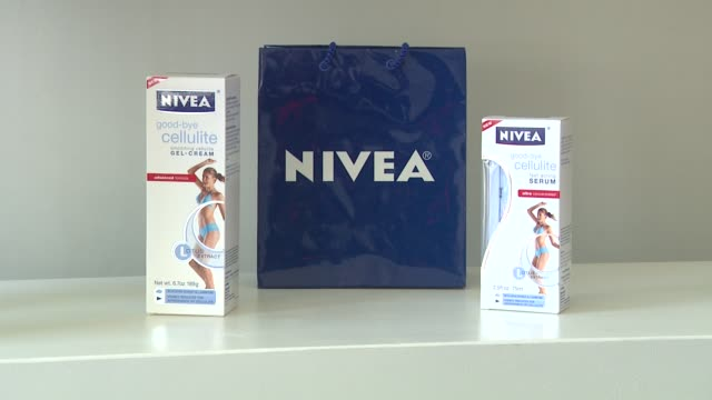 signage at the khloe kardashian odom reveals results of the 2011 nivea goodbye cellulite hello bikini challenge at los angeles ca - cellulite stock videos & royalty-free footage