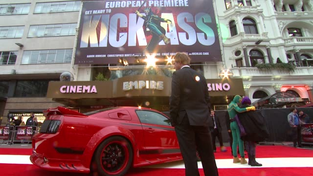signage at the kickass uk premiere at london england - kick ass film title stock videos & royalty-free footage