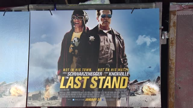 vídeos y material grabado en eventos de stock de atmosphere signage at 'the last stand' uk premiere at empire leicester square on january 22 2013 in london england - el último desafío