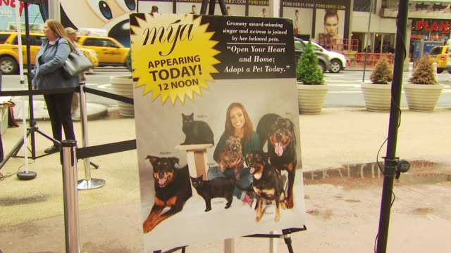 signage at the mya hosts north shore animal league's tour for life 2010 grand finale at new york ny. - 歌手 マイア点の映像素材/bロール