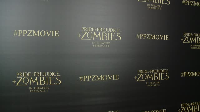 ATMOSPHERE signage at the 'Pride And Prejudice And Zombies' Los Angeles Premiere at Harmony Gold Theater on January 21 2016 in Los Angeles California
