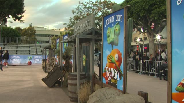 signage at the 'rango' premiere at westwood ca - westwood stock videos & royalty-free footage