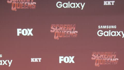 """stockvideo's en b-roll-footage met signage at the """"scream queens"""" los angeles premiere & party at the wilshire ebell theatre on september 21, 2015 in los angeles, california. - wilshire ebell theatre"""