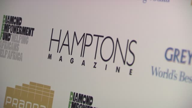 signage at the serena williams hosts hamptons magazine cover party with grey goose at new york ny. - グレイグース点の映像素材/bロール