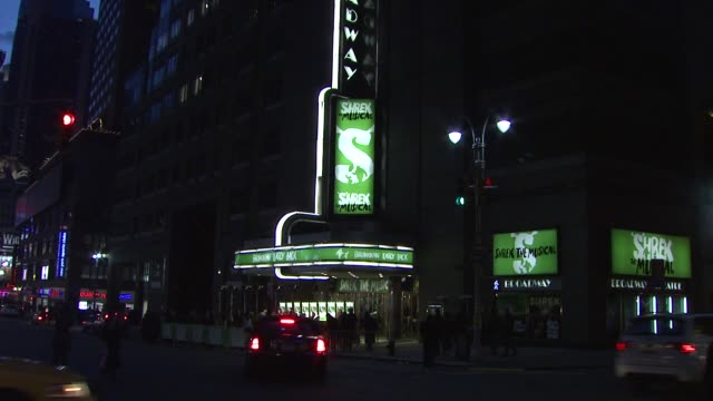 signage at the 'shrek the musical' broadway opening night at new york ny - premiere stock videos & royalty-free footage