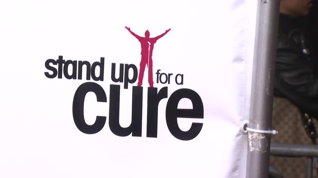 signage at the stand up for a cure - a concert to benefit memorial sloan-kettering cancer center at the hammerstein ballroom in new york, new york on... - benefit concert stock videos & royalty-free footage