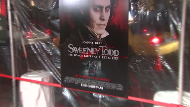 Signage at the 'Sweeney Todd The Demon Barber of Fleet Street' New York Premiere at Ziegfeld Theatre in New York New York on December 3 2007