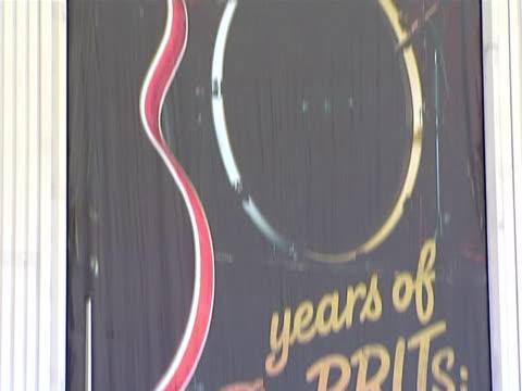 Signage at the The Brit Awards 2010 at London England