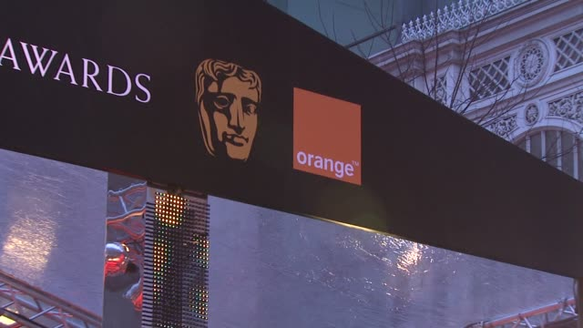 signage at the the orange british academy film awards at london . - preisverleihung stock-videos und b-roll-filmmaterial