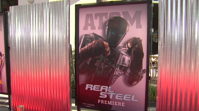 signage at the the world premiere of dreamworks pictures' 'real steel' at universal city ca. - universal city stock videos & royalty-free footage