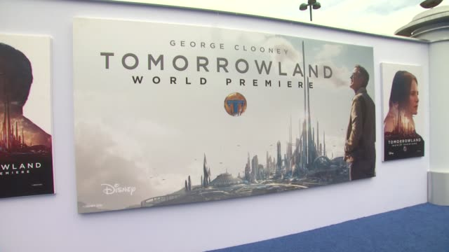 atmosphere signage at the tomorrowland los angeles premiere at amc downtown disney 12 theater on may 09 2015 in anaheim california - anaheim california stock videos and b-roll footage