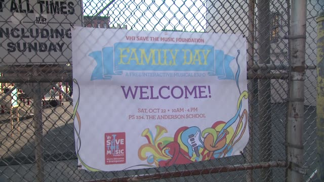signage at the vh1 save the music foundation presents family day at new york ny - vh1 stock-videos und b-roll-filmmaterial