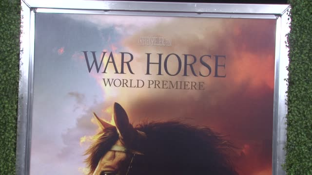 signage at the world premiere of dreamworks pictures' 'war horse' at new york ny. - war stock-videos und b-roll-filmmaterial