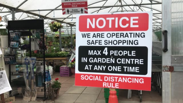 signage dotted across o'neill's garden centre in glaslough in co. monghan. the centre reopened on monday as part of the government's first phase of... - spotted stock videos & royalty-free footage