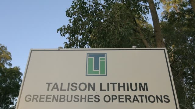 Signage for a Talison Lithium Ltd facility a joint venture between Tianqi Lithium Corp and Albemarle Corp stands in Greenbushes Australia on Thursday...