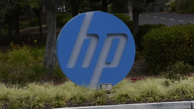 signage for hewlettpackard enterprise inc stands at the entrance to the company's headquarters in palo alto california us on monday may 23 2016 shots... - headquarters stock videos & royalty-free footage