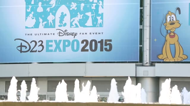 Signage for the 2015 D23 Expo is displayed during the D23 Expo 2015 in Anaheim California US on Friday Aug 14 2015 Shots Exterior shots of banners...