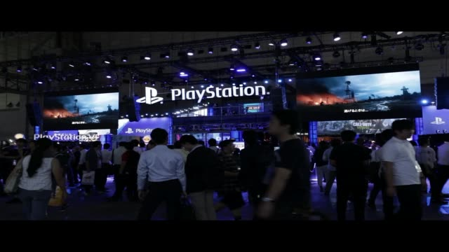 signage is displayed at the sony interactive entertainment inc. booth in the tokyo game show 2017 at makuhari messe in chiba, japan, on friday, sept.... - game show stock videos & royalty-free footage