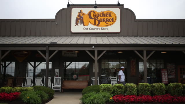 signage is displayed outside a cracker barrel old country store and restaurant in louisville kentucky us on monday september 23 2019 - building exterior stock videos & royalty-free footage