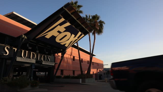 Signage is displayed outside the entrance to 20th Century Fox Studios a subsidiary of TwentyFirst Century Fox Inc in the Century City neighborhood of...