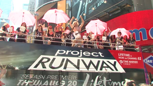 signage models at the tim gunn celebrates project runway's new home on lifetime television at new york ny - project runway stock videos and b-roll footage