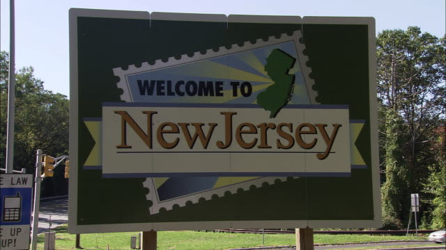 vídeos y material grabado en eventos de stock de welcome to new jersey signage - cartel
