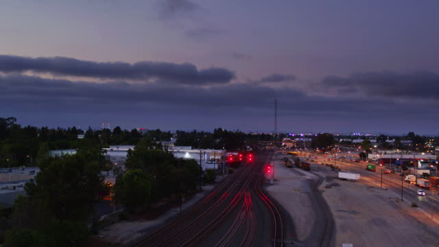 signals on the alameda corridor, los angeles - drone shot - rail freight stock videos and b-roll footage