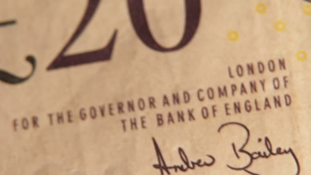 signature of andrew bailey new governor of the bank of england on twenty pound note when he was chief cashier for the bank of england - british pound sterling note stock videos & royalty-free footage