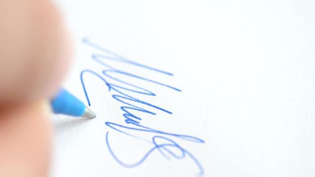 signature - underskrift bildbanksvideor och videomaterial från bakom kulisserna