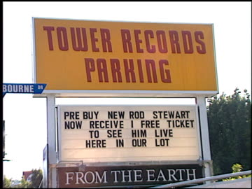 sign/banner at the rod stewart video and concerts at tower records in los angeles, california on june 2, 1998. - rod stewart stock-videos und b-roll-filmmaterial