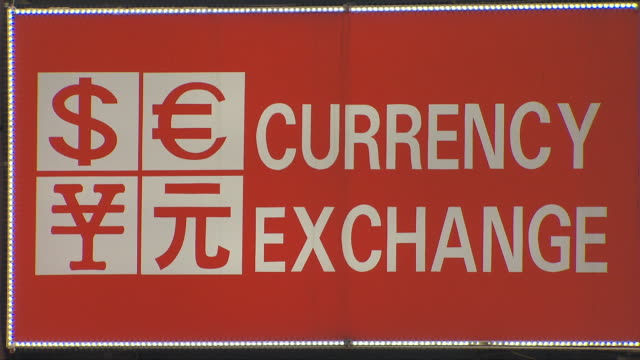 Signboard of a currency exchange store in Seoul