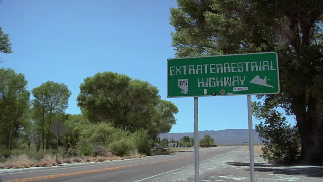 ws td signboard of extraterrestrial highway no 375, nevada, usa - sign stock videos & royalty-free footage
