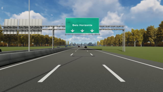 signboard on the highway indicating the entrance to belo horizonte city 4k stock video - horizonte stock videos & royalty-free footage