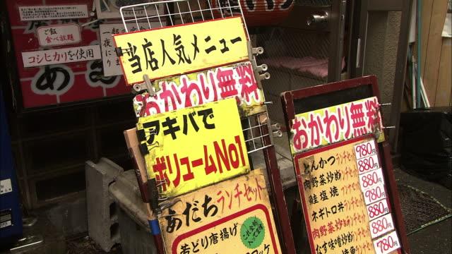 Signboards in a back street in Akihabara