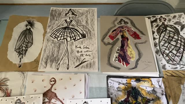 signed drawings are on display at franck sorbier house during a spring sales exhibition on march 22, 2021 in paris, france. . - drawing activity stock videos & royalty-free footage