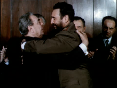 vídeos de stock e filmes b-roll de signing of joint soviet cuba declaration by fidel castro and brezhnev reaffirming the noble goals of the socialist community - leonid brezhnev