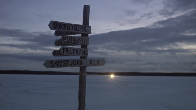 a signpost in the wilderness norrland sweden. - choosing stock videos and b-roll footage