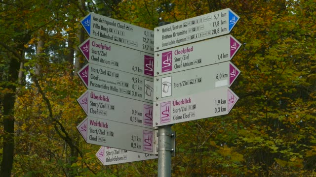 signs at cloef viewpoint in orscholz and saar river bend, mettlach, saarland, germany, europe - river bend land feature stock videos & royalty-free footage