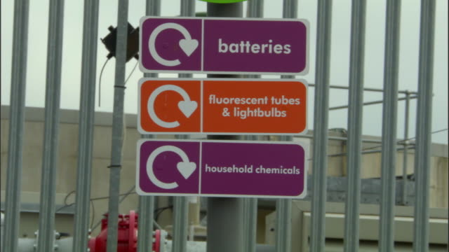 ms, signs at recycling centre, ardley, oxfordshire, united kingdom - oxfordshire stock videos & royalty-free footage