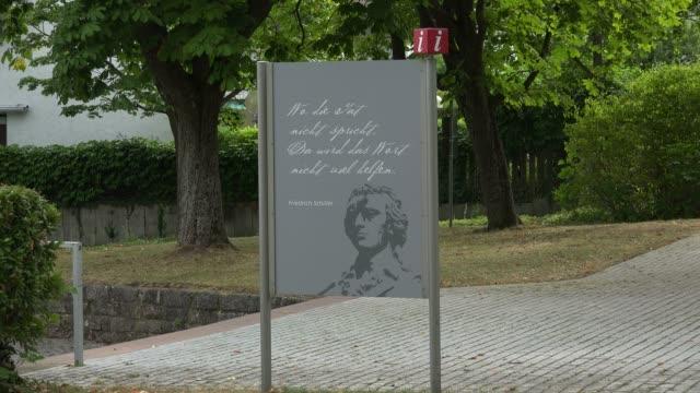 Signs at Schiller National Museum, Marbach am Neckar, Neckar Valley, Baden-Wuerttemberg, Germany